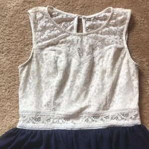 White and Navy Dress